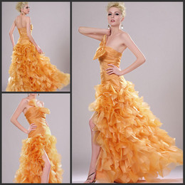 Wholesale 2014 Elegant Sexy Hot Designer Strapless Sleeveless Zipper Sweep Train Ruffle A Line Party Evening Prom Dresses Custom Made