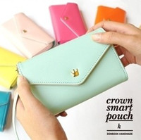 Cheap Cheap Crown Handbags Smart Pouch PU Leather Wallet Mobile Phone Case  Pouch for Phone  Samsung  HTC