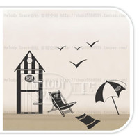 Wholesale 20 quot quot REMOVABLE SEA Sandy fan beach Seagull Chair WALL DECALS Vinyl Stickers house JM8084