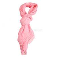 Wholesale Pleated Woman Scarf Wrap Pink Long Crinkle Shawl Soft Cotton Voile NI5L