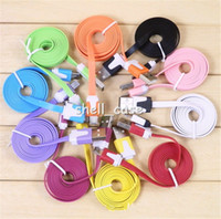 Wholesale Colorful Noodle Flat USB Data Line Sync Charger Cable Adapter Cables for iPhone S G S iphone4 iphone5 iPad Nano with retail package