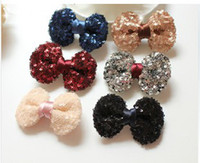 Wholesale 2014 New Children s Korean Style Fashionable Hair Accessories Baby Girls Sweet Princess Sequin Bow tie Barrettes