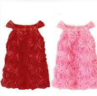 Wholesale New Arrival Kids Summer Dress High Grade Solid Rose Suspender Dress Lady Style Girls Sundress