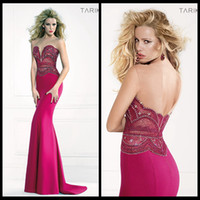 Model Pictures Sweetheart Satin 2014 Tarik Ediz Prom Dresses Mermaid Fuchsia Satin Sweetheart Beads Crystal Pageant Dress For Backless Evening Gowns