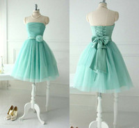 Real Photos Pleats Sleeveless Short Lovely Mint Tulle Bridesmaid Dresses For Teens Young Girls 2014 Chic Flower Bow Sash Lace up Bridal Party Beach Wear Gowns