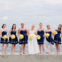 Wholesale 2014 Hot Selling Navy Blue Strapless Sheath Short Satin Bridesmaid Dresses Vintage Cheap Maid of Honor Gowns Junior Bridesmaid Dress