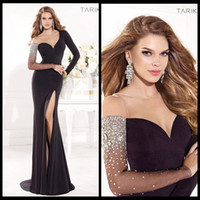Wholesale 2014 Tarik Ediz Prom Dresses One Shoulder Mermaid Long Sleeve Front Side Silt Black Chiffon Pageant Gowns With Crystal Beads