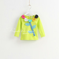 Wholesale 2014 Spring Fashion Girl flower T shirt bottoming shirts Fancy cotton tshirt bottoming shirts Children s T shirts kids shirts jumpsuit