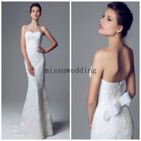 Wholesale Angel Bridal gowns Wedding dress Strapless Mermaid Brush Train Lace look backless fashion Garden gowns