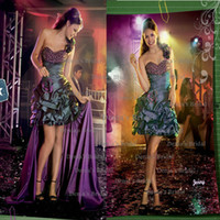 Reference Images Strapless Taffeta 2014 Center Noivas FANCY TEEN Demi Sexy MINI Strapless Sweep Train Peplum Ruched Taffeta Prom Dresses with Beaded and 3D Appliques Dhyz 01