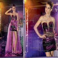 Reference Images V-Neck Sequined 2014 Center Noivas FANCY TEEN Angelina Purple Sheath MINI V Neck Sequins Lace Prom Dresses with Peplum and Beaded Dhyz 01
