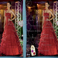 Reference Images One-Shoulder Taffeta 2014 Center Noivas FANCY TEEN Berry Red A Line One Shoulder Lace Up Ruched Taffeta Prom Dresses with Beaded and Hand Made Flowers Dhyz 01
