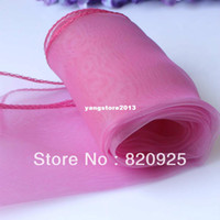 Wholesale 10pcs New Rose Pink Sheer Organza Table Runner Wedding Party Decoration Supply
