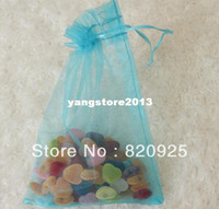 Wholesale 100 X Turquoise Blue x18cm Organza Sheer Wedding Favour Xmas Gift Bags Pouches