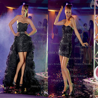 Reference Images Sweetheart Sequined 2014 Center Noivas FANCY TEEN Amy curto Sexy Black MINI Strapless Sweetheart Sequins Lace Prom Dresses with Organza Peplum and Beaded Dhyz01