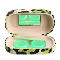 Wholesale Traveling Leopard Contact Lens Storage Box Case Holder with Mirror Chic NI5L