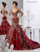 Wholesale Red Formal Evening Dresses Arabic Jajja Couture Embroidery V Neck Vestidos Ball Gowns Prom Cheap Ball Gowns Long Sleeve Sexy Dress