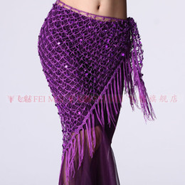 Wholesale New belly dance hand hook sling Hip scarf dance hip towel triangle women wear dancing belts costumes trial performance