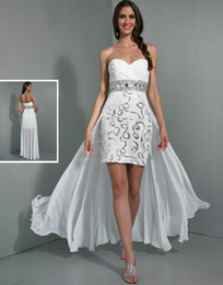 Wholesale Stunning WOW Prom Dress Crystal Sexy Strapless Sleeveless hi low belt Chiffon beading Pleat Formal Evening Dresses Gowns