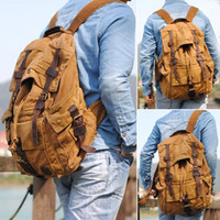 Wholesale Men s New neutral popular causal bag Canvas Leather FB270 leisure backpack utility