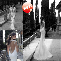 Wholesale 2014 Lace Deep V Neck Sexy Mermaid Wedding Dress Illusion Sheer Back Covered Button Court Train Actual Image Bridal Gown DH477
