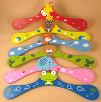 Wholesale Korean Cartoon Children s Wooden Painted Hangers Clothing Store Creative Clothespin Lovely Cartoon Rack Kids Hanger Coat Cute Happy