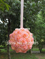 Wholesale 1 X inches Pink Yellow Kissing Ball Pomander Wedding Flowers Pew Bows