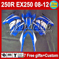 Wholesale blue white gifts For Kawasaki Ninja ZX R EX250 EX new blue MC181 ZX250R Fairing Tank