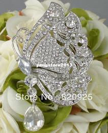 1 X Butterfly Rhinestone Crystal Diamante Silver Brooch Pin Charm Pendant