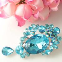 al por mayor aqua broche de diamantes de imitación-1 X Espumoso Aqua Azul De Cristal De Diamante De Imitación De La Flor De La Moda De Estilo Pin De Broche Plata