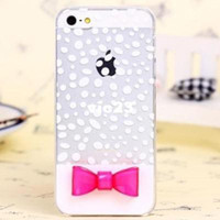 Wholesale Lovely clear fresh for apple iphone s g following wave point bowknot phone set transparent shell
