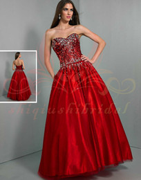 Wholesale Stunning white WOW Prom Dress sequins ball gowns Crystal Sexy pleat Sweetheart beading zipper Formal Evening Dresses Gowns