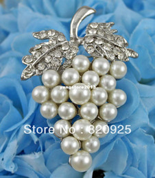 1 A Grade Clear Rhinestone Crystal Ivory Cream Faux Pearl Grape Brooch Pin