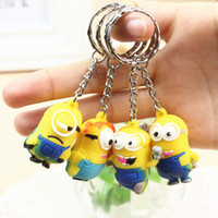 Wholesale High quality cartoon D Despicable Me Minion Action Figure Keychain Keyring Key Ring children gift CARD Package