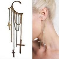 Wholesale 12pcs not pairs Fashion Cross Ear Clip Hook earrings Tassels Ear Cuff ear hook vintage ear cuff women ear cuff