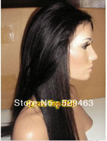 black yaki straight Brazilian hair 2014 best selling !!Yaki straight Glueless Full lace wig &Front Lace wig Remy Brazilian Virign human hair Freeshipping