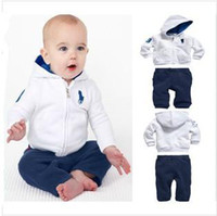 Wholesale Baby boy clothes children s clothing set white clothes hooded pants models Spring and Autumn baby Sportswear BC004