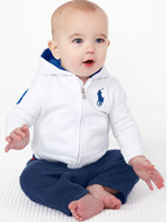 Spring / Autumn baby furniture - 2015 Time limited Wicker Furniture Babies Clothes Children Clothing Fall White Hooded Pants Models Spring And Autumn Baby Sportswear Bc004