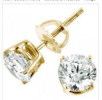 Wholesale 14K Yellow Gold Round Diamond Stud Earrings ct