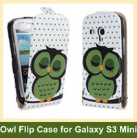 For Samsung Leather White Wholesale Lovely Owl Pattern PU Leather Flip Cover Case for Samsung Galaxy SIII S3 Mini i8190 with Magnetic Snap Free Shipping