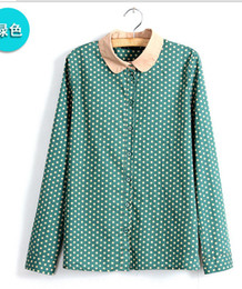 Wholesale Colors Women s fashion turn down collar shirt Flowers Print Long sleeve Polka Dots Slim tops NC1293 S M L