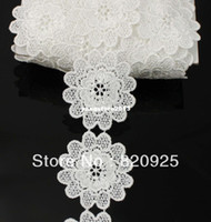 Collar Necklace applique crafts - 2yds mm Off White Fabric Flower Venise Lace Trim Applique Sewing Craft
