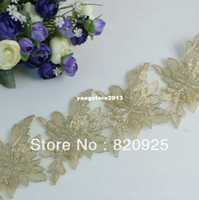 Collar Necklace Lace Sequins 2yds Charming Gold Fabric Venise Lace Trim Fringe Embellishment Sewing Crafts