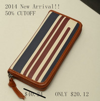Wholesale 2014 designer brand women s wallet genuine leather zipper striped bag mobile phone card bag holder color block long purse M201