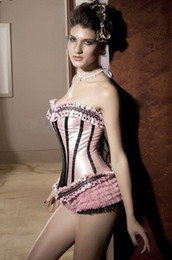 Wholesale Corset Tops pink and Red Black Ruffle Corset with G string sexy ladies shapers underwear