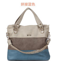 oppo bag - Multicolor splicing OPPO fashion women three colour design casual handbags high quality tote shoulder bags