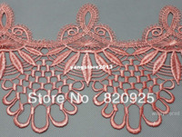 Wholesale 3yds Peach Pink Fabric Venise Lace Trim Fringe Embellishment Sewing Crafts