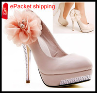 Wholesale 2014 New Pink Off white high heel bridal shoes lace flower wedding dress shoes beaded close toe lady shoes Colors ePacket