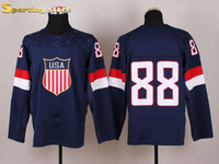 Cheap 2014 USA Olympic Home Jerseys Sochi Patrick Kane 88 Jerseys New Arrive Blue Well Embroidery Logos Hockey Apparel Brand Profession Jerseys