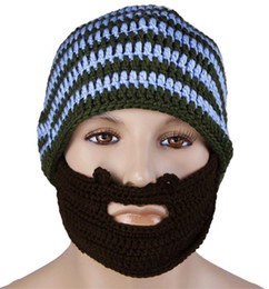 Discount wholesale knitted cashmere hat Novelty Fashion Warm Wool Hat casual Beanies Men Beard Handmade Knitted Wool Hats Knitted Winter Hat Free Shipping